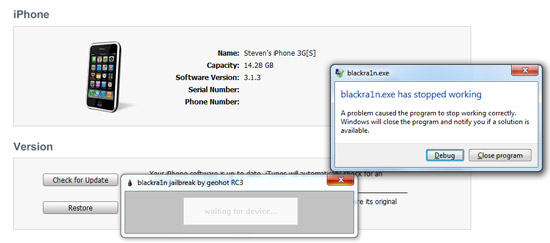 itunes 9.1 stopped blackra1n