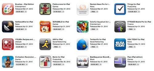iPad Apps live in the iTunes store