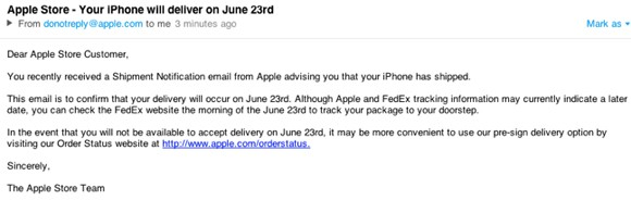 apple early email notification