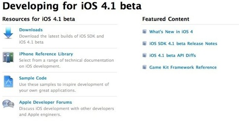 iOS 4.1 for developers