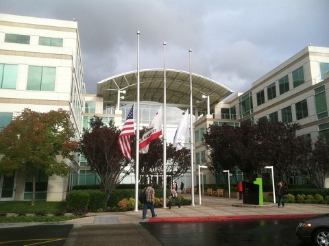 Flags half staff at Apple headquarters