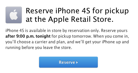 Reserve iPhone 4S For Pickup Apple Retail Store