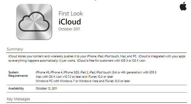 iCloud First Look Internal