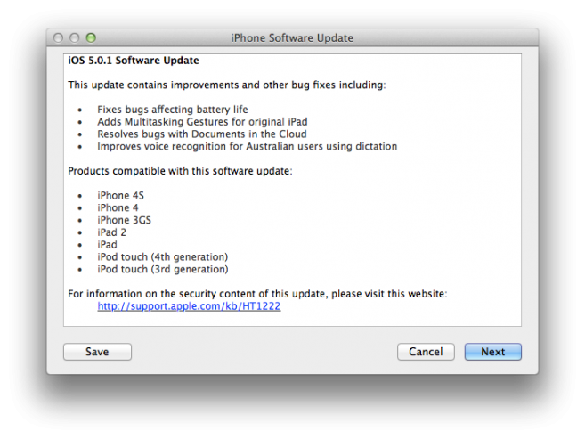 iOS 5.0.1 Software Update