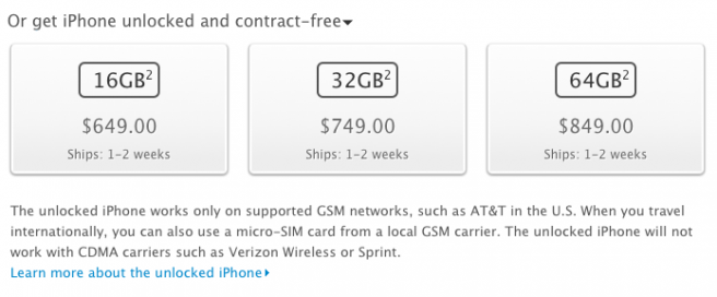 iPhone unlocked contract free