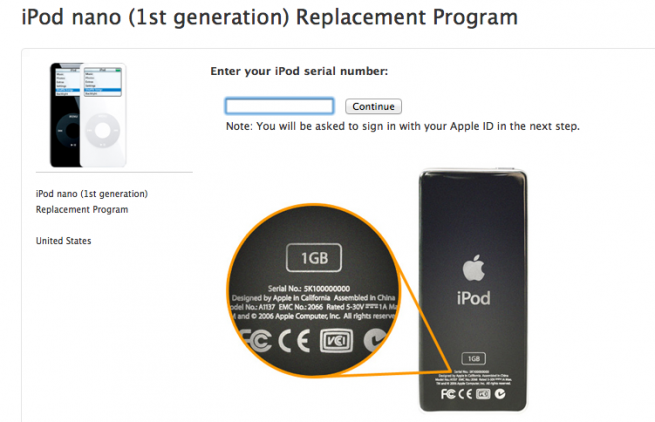 iPod Nano 1st Generation Replacement Program