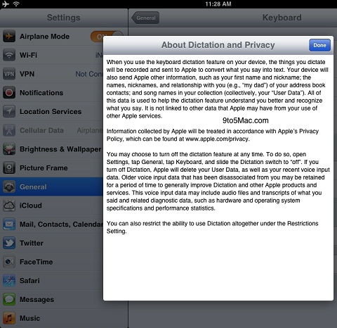 Siri Dictation iPad 2